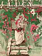 Illustrated cover of the sheet music for LUCY, by J. Amédée Roy