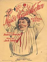 Illustrated cover of the sheet music for MISTER BASEBALL FAN, words by Homer C. Boucher and music by Jack Stanley