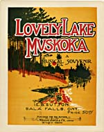Illustrated cover of the sheet music for LOVELY LAKE MUSKOKA, by E.B. Sutton