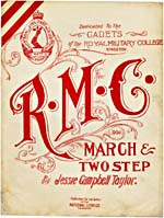 Illustrated cover of the sheet music for R.M.C. MARCH & TWO STEP, by Jessie Campbell Taylor