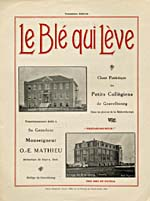 Illustrated cover of the sheet music for LE BLÉ QUI LÈVE, words by R.P. Georges Boileau and music by R.P. Henri Gervais