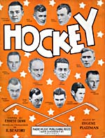 Illustrated cover of the sheet music for HOCKEY, words by Ernest Dunn and music by Eugene Platzman
