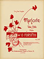 Illustrated cover of the sheet music for MARJORIE, by W.O. Forsyth