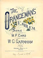 Illustrated cover of the sheet music for THE ORANGEMAN'S EMBLEM, words by M.P. Card and music by W.G. Garnham