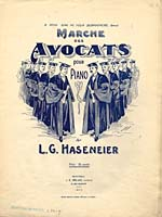 Illustrated cover of the sheet music for MARCHE DES AVOCATS, by L.G. Haseneier