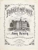 Illustrated cover of the sheet music for FORGET-ME-NOT WALTZES, by Miss Amy Henry