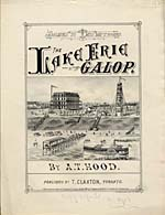 Illustrated cover of the sheet music for THE LAKE ERIE GALOP, by A.T. Hood