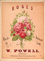 Illustrated cover of the sheet music for ROSES, words by Professor Long and music by W. Powell