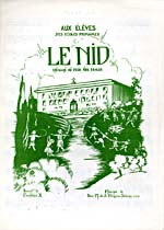 Illustrated cover of the sheet music for LE NID, words by Constance X. and music by Soeur M. de S. François Solano