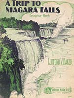 Illustrated cover of the sheet music for A TRIP TO NIAGARA FALLS, by Clifford V. Baker
