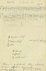 Tune written by Glenn Gould at the age of 8, for a school music test, June 1941