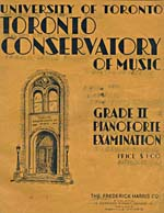 Cover of book, TORONTO CONSERVATORY OF MUSIC: GRADE II PIANOFORTE EXAMINATION