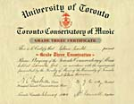 Toronto Conservatory of Music grade 3 piano certificate, February 1940