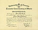 Diploma in Piano (Solo Performer) from the Toronto Conservatory of Music, 1946