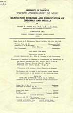 Front cover of program for the Toronto Conservatory of Music graduation exercises, 1946