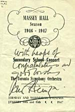 Front cover of program for Toronto Symphony Orchestra Secondary School Concert, signed by Bernard Heinze, 1947