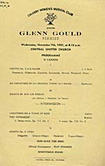 Program for Calgary Women's Musical Club recital, 1951