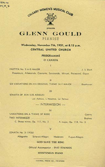 Archived - Concert Tours - Glenn Gould - The Glenn Gould Archive