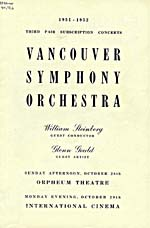 Program for Vancouver Symphony Orchestra concert, 1951