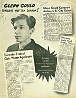 Front page of a 1951 publicity flyer with a photograph of Glenn Gould and excerpts from newspaper reviews of his concerts