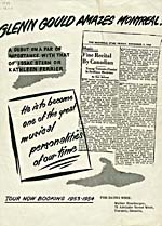 Front page of a publicity flyer with the title GLENN GOULD AMAZES MONTREAL