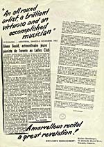 Back page of a publicity flyer, with a review of one of Gould's concerts