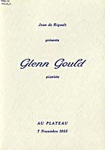 Program for a recital at Plateau Hall in Montréal, 1955