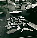 Photograph of a collection of Glenn Gould's unreturned hotel keys