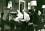 Photograph of Glenn Gould, Howard Scott and a CBS recording engineer, listening to tapes of the STRING QUARTET, OP. 1