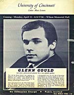 Notice for a lecture by Glenn Gould on Arnold Schoenberg, at the University of Cincinnati, 1963