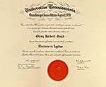 Diplôme DOCTORIS IN LEGIBUS reçu de l'University of Toronto en juin 1984