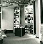 Photograph of a display of the record jackets of Gould's works