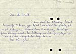 Handwritten note from an Israeli housewife, thanking Glenn Gould for letting her hear his playing, December 1958