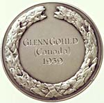 Back of the Harriet Cohen Bach Medal, with inscription GLENN GOULD, CANADA, 1959