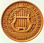 Front of the University of Alberta National Award in Music medal, 1976