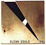 Back of the Canada Council Music Award, 1981, showing inscription with Glenn Gould's name