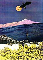 Collage of moonlit mountain by Joan McCrimmon Hebb