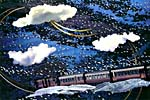 Collage with image of a train in the clouds, by Joan McCrimmon Hebb