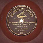 Label of a seven-inch brown disc, with gold edging and lettering, and the words GRAM-O-PHONE RECORD
