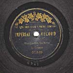 Label of a seven-inch black disc, with gold edging and lettering, a maple leaf garland, and the words IMPERIAL RECORD on the label