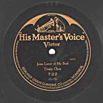 Ten-inch black disc with the HIS MASTER'S VOICE VICTOR batwing label, circa 1914