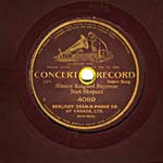 Label of a seven-inch brown disc, with a brown background, gold edging and print, and the words CONCERT RECORD, circa 1904