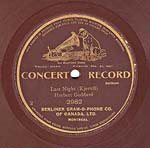 Ten-inch brown disc with the CONCERT RECORD label and listing of the Buffalo and St. Louis exposition wins, circa 1905