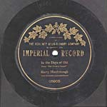 Ten-inch black disc with the IMPERIAL RECORD label, circa 1904