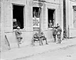 Photograph of Canadian troops outside of a YMCA canteen, July 1917