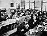 Photograph of unemployed men eating in a Montréal soup kitchen