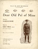 Cover of sheet music for DEAR OLD PAL OF MINE, featuring a signed photograph of Lieutenant Gitz Rice
