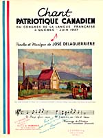 Illustrated cover of the sheet music for CHANT PATRIOTIQUE CANADIEN, by José Delaquerrière, which was written in homage to French Canadians, showing a painting of Ste. Famille Chapel on the Ile d'Orleans, with a panoramic view of the Laurentians and Ste-Anne-de-Beaupré