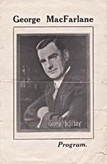 Front cover of concert program, showing a photograph of George MacFarlane