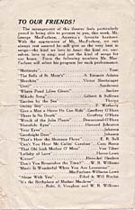 Back cover of concert program, showing a list of MacFarlane's repertoire